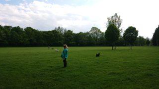 公園で立っている女性