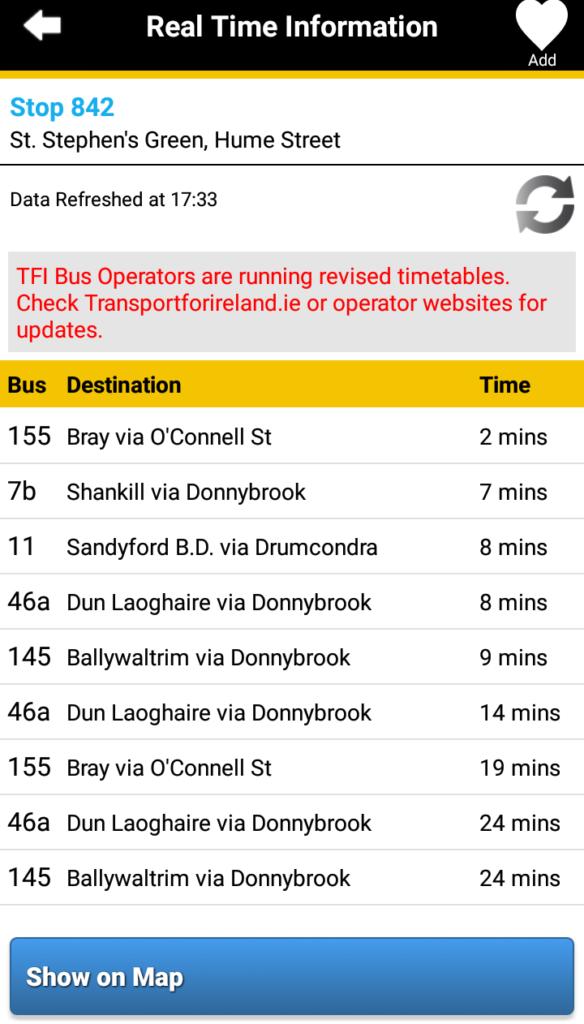 アプリのバスの到着時刻の画面