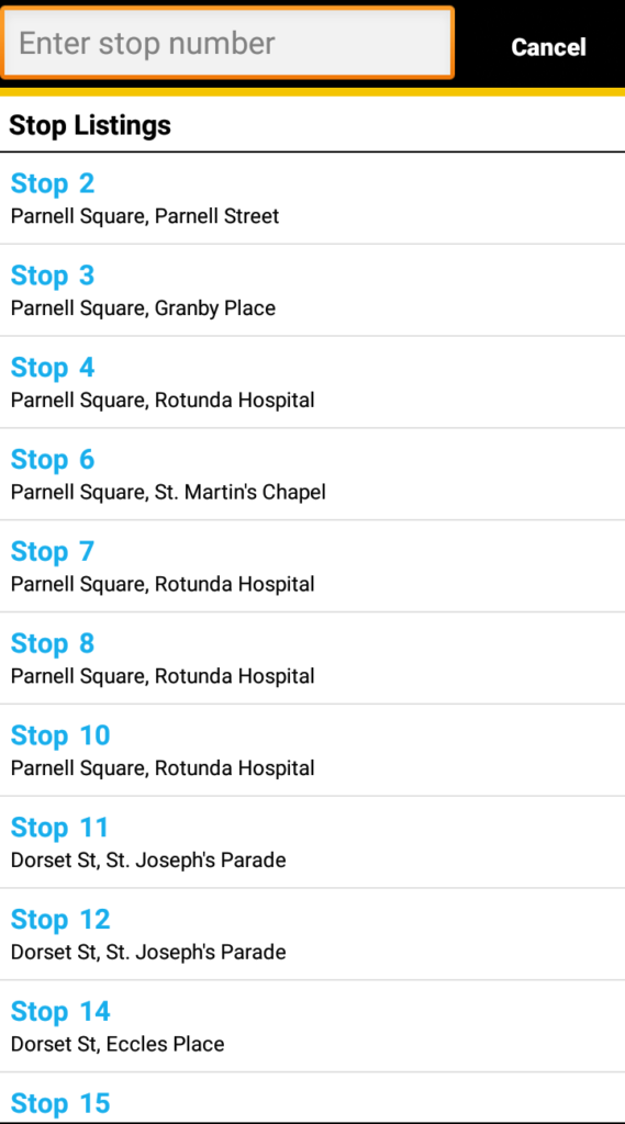 バスのアプリの画面